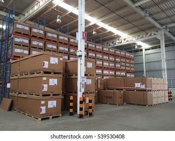 Rayong Thailand , December 20 - 2016 : factory warehouse shelf and material boxes for supply to customers
