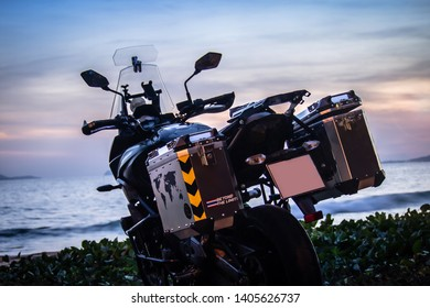 Rayong, Thailand December 2018 : KAWASAKI YERSYS650 touring bigbike on the beach sunset