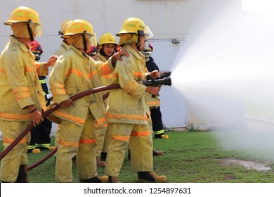 Rayong Thailand , December 5 - 2018 :  Firefighting and emergency assistance in industrial facilities.