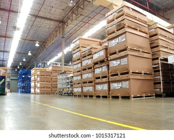 Rayong Thailand , Feb. 01 - 2018 : material paper box and wood pallet in factory warehouse for logistic and shipping to customers in Thailand.