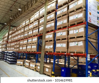 Rayong Thailand, Feb 1, 2018 : Automotive part preparing in the warehouse for production.
