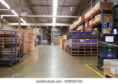 Rayong Thailand , Feb.21 - 2018 : Factory warehouse shelf for keep raw material and goods.