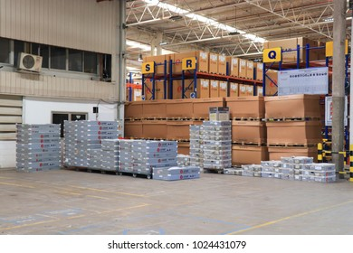 Rayong Thailand , February 14 - 2018 : Material and shelf in factory warehouse at Thailand consist of wood pallets and boxes.