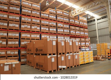 Rayong Thailand , February 17 - 2018 : Material and shelf in factory warehouse at Thailand consist of wood pallets and boxes.
