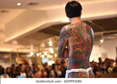 "RAYONG, THAILAND - FEBRUARY 19, 2018: Unidentified contestant's tattoo at Passione Shopping Destination ""Rayong Tattoo Convention 2018"" on Feburary 18-19, 2018 in Rayong, Thailand"