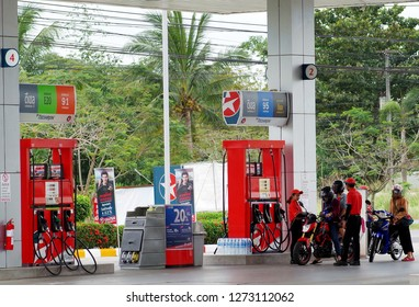 Rayong Thailand , January 03 - 2018 : Gasoline station service customers fill fuel oil in Thailand Rayong province.