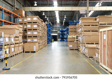 Rayong Thailand , January 12 - 2018 : material boxes in factory warehouse.