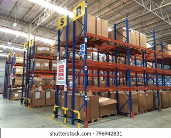 Rayong Thailand , January 19 - 2018 : factory warehouse high rack for keep materials in factory.