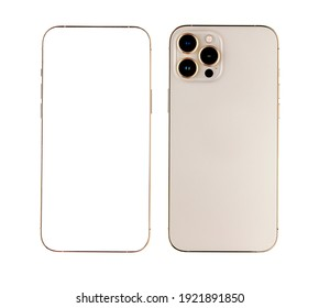 Rayong, Thailand- January 27, 2021:  New Gold Color Iphone 12 Pro Max, Front and back side. Smartphone mock up with white screen. Illustration for app, web, presentation, design.