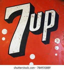 Rayong, Thailand - January 2nd, 2018: A vintage advertising sign board for the famous 7 Up lemonade brand.