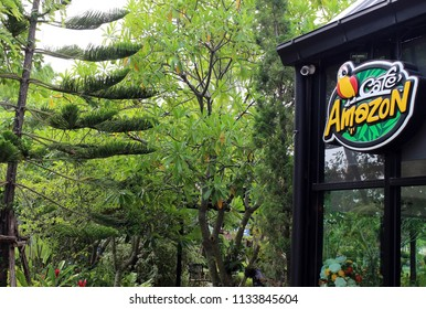Rayong, Thailand - July 14th, 2018: A building sign for Cafe Amazon. a chain of Thai coffee shops founded by PTT Public Company Limited, shown against a tropical forest background.
