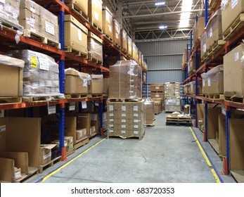 Rayong Thailand , July 25 - 2017 : warehouse shelf in factory building keep materials and products.