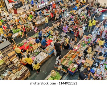 RAYONG, THAILAND – JULY 30, 2018 : People are shopping for OTOP products. OTOP To The Town Event at Central Plaza Grand Rayong, OTOP stands for 'One Tambon (meaning sub-district) One Product'.