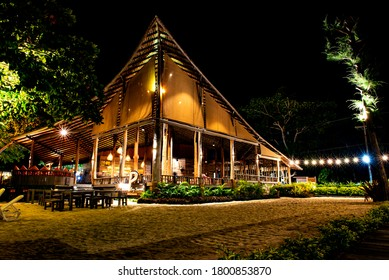 RAYONG, THAILAND - JULY 5, 2020 : Baan Ploy Samed restaurant, nice view at night, delicious food, designed beautiful and spectacular, located at Samed island, Rayong, Thailand.