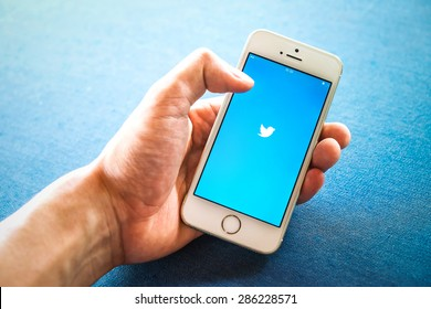 "RAYONG, THAILAND - June 03 , 2015: Twitter is an online social networking and microblogging service that enables users to send and read ""tweets"" , limited to 140 characters."