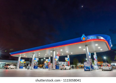 Rayong, Rayong /Thailand - June 17, 2018: PTT gas station. PTT Public Company Limited or simply PTT is a Thai state-owned oil and gas company.Formerly known as the Petroleum Authority of Thailand