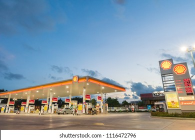 Rayong, Rayong /Thailand - June 17, 2018: Shell gas station blue sky background during sunset. Royal Dutch Shell sold its Australian Shell retail operations to Dutch company Vitol in 2014