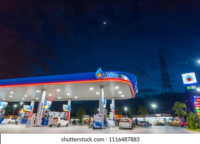 Rayong, Rayong /Thailand - June 17, 2018: PTT gas station. PTT Public Company Limited or simply PTT is a Thai state-owned oil and gas company.Formerly known as the Petroleum Authority of Thailand.