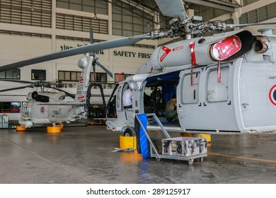RAYONG , THAILAND- MAR 26, 2015: Sikorsky UH-60 Black Hawk helicopter of royal thai navy standby in the hangar for maintenance. U-TAPAO Airport, Rayong