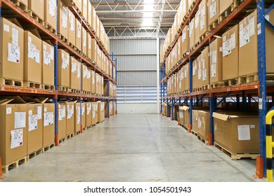 Rayong Thailand , Mar.15 - 2018 : Material boxes on shelf in factory warehouse in Thailand.
