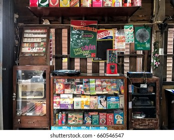 Rayong, Thailand - March 14 2017: Old products were shown in the shop near Bangkok, these products is now difficult to buy