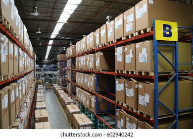RAYONG THAILAND , MARCH 18 - 2017 : warehouse shelf in factory for keep material supply to customer in Thailand