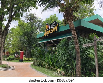 Rayong, Thailand - March 31, 2019: View of Cafe Amezon, a chain of Thai cafes founded by PTT Public Company Limited, at the PTT gasoline station in Rayong, Thailand.