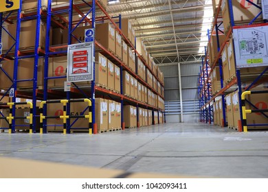 Rayong Thailand , March 9 - 2018 : Material and shelf in factory warehouse at Thailand consist of wood pallets and boxes.