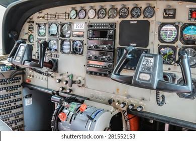RAYONG , THAILAND- MAY 16, 2015: Inside Cessna 208 Caravan of KASET , Bureau of Royal Rainmaking and Agricultural Aviation. U-TAPAO Airport, Rayong