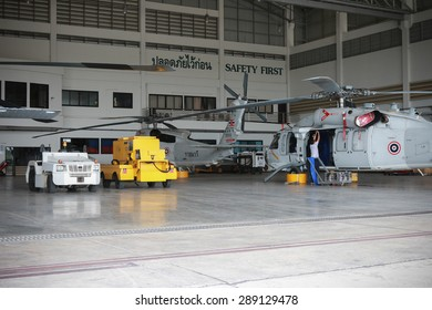 RAYONG , THAILAND- MAY 26, 2015: Sikorsky UH-60 Black Hawk helicopter No.3208 of royal thai navy standby in the hangar for maintenance. U-TAPAO Airport, Rayong