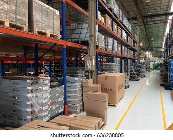 Rayong Thailand , May 8 - 2017 : Factory warehouse shelf for keep material and goods supply customer in Thailand.