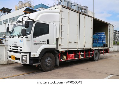 Rayong Thailand , Nov 06 - 2017 :  Shipping truck for industrial delivery in Thailand.