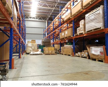 Rayong Thailand , Nov.24 - 2017 : Factory warehouse shelf for materials and goods.
