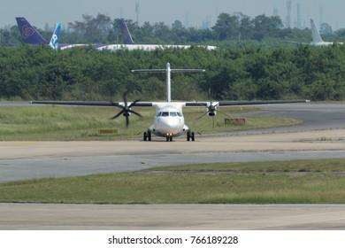 Rayong, Thailand. November 18, 2017. Bangkok Airways ATR 72 Taxi to Gate Terminal after Land at U-Tapao Rayong Pattaya International Airport.
