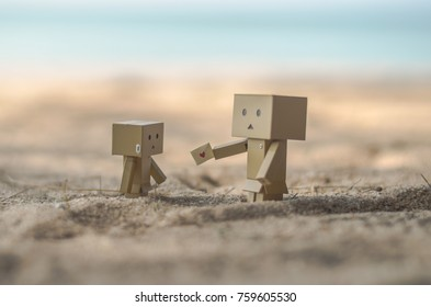 Rayong, Thailand - October 17, 2017: Danbo send heart on the beach,seleced focus