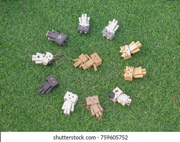 Rayong, Thailand - October 17, 2017: Danbo relax on the grass,seleced focus