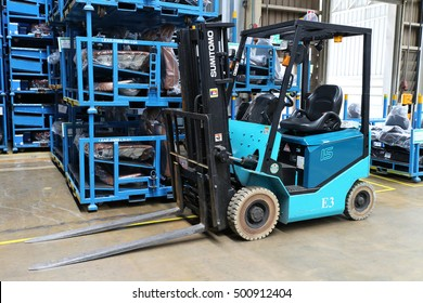 Rayong Thailand , October 19 - 2016 : Lift truck in factory warehouse use for lift and move material supply to production process line in Thailand factory.