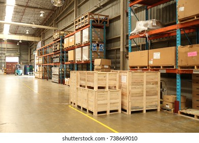 Rayong Thailand , October 20 - 2017 : Box and wood pallet in factory warehouse area