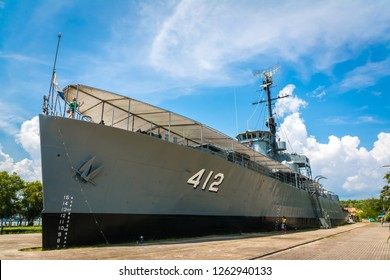 Rayong, Thailand - October 20, 2018: Lhuang Prasae Battleship, Old battleship which was decommissioned and change to the memorial and landmark of Prasae estuary