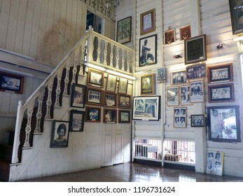 Rayong, Thailand - October 6th, 2018: Interior of the museum of local heritage housed in a restored property on Yomjinda Road in the old town area of Rayong city.