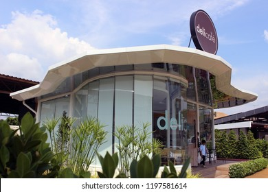 Rayong, Thailand - October 8th, 2018: Exterior of a Deli Cafe owned by the non oil arm of Shell, designed by Hans Werner Mueller, and primarily located at Shell gas stations.