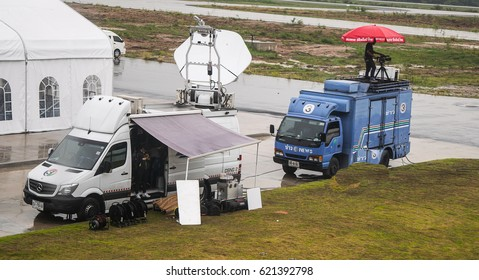 Rayong, Thailand On April 20, 2017, a television newscast televised press briefing on the Prime Minister's visit to U-Tapao Airport, Rayong, Thailand.