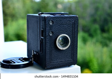 Rayong, Thailand - September 03, 2019: Vintage camera Zeiss Ikon Box camera, made in 1926 - 1945, France, photographed on August 03, 2017