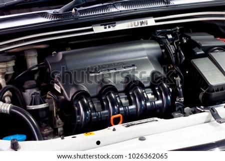 Rayong Thailandfebruary 162018 Engine Honda Jazz Stock Photo Edit