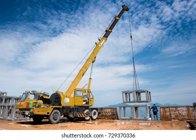 RAYONG, THAILAND-SEP 15: The crane on  the transport barge carrying the artificial reef and move to droping zone  on Sep 15, 2017 in Rayong, Thailand