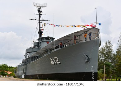 Rayong,TH - August 26 : Luang Prasae battleship,In the past was assigned to fight in the Korean Peninsula, Navy has decommissioned since 2000 at Paknam Prasae on August 26, 2018 in Rayong,TH