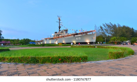 Rayong,TH - September 2 : Luang Prasae battleship,In the past was assigned to fight in the Korean Peninsula, Navy has decommissioned since 2000 at Paknam Prasae on September 2, 2018 in Rayong,TH