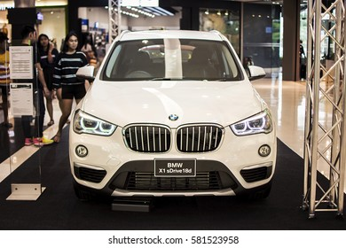 Rayong,Thailand - January 14, 2017 BMW Motor Show in Central Festival Rayong Department store. Front view of BMW X1 sDrive 18d