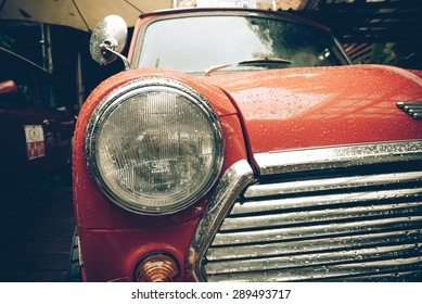 RAYONG,THAILAND - January 20, 2015 : Mini Austin Cooper S in vintage tone film effect