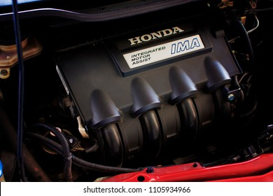 Rayong,Thailand - March 8, 2017  Honda hybrid engine,integrated motor assist in engine room of Honda fit.